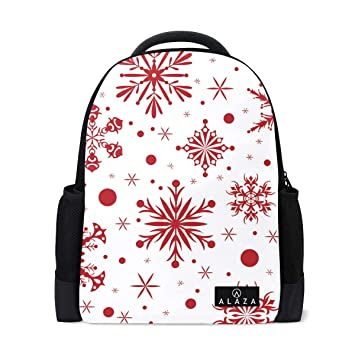 ec3047886684 Image Unavailable. Image not available for. Color  Lightweight Red  Christmas with Snowflakes Blue to Polyester Backpack School Book Bag Travel  Daypack