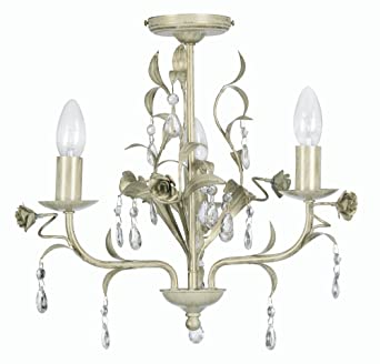 Oaks Lighting Catania Kronleuchter 3 Flammig Mit Glastropfen Creme/Gold