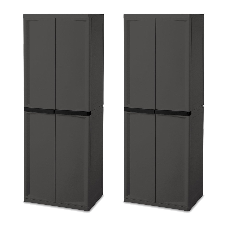 Sterilite Adjustable 4-Shelf Gray Storage Cabinet With Doors, 2 Pack | 01423V01