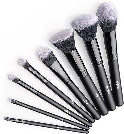 Anjou Brochas Maquillaje Profesional 8 Piezas, Set Brochas de Maquillaje 100% Libre de Crueldad y Vegano con Cerdas Sintéticas Suaves de Alta Calidad Bolso Cosmético Impermeable - Negro: Amazon.es: Belleza