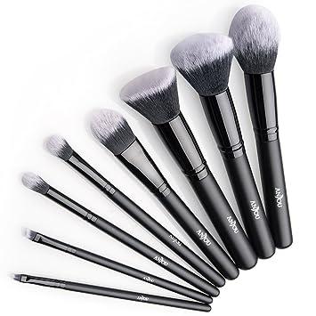 Brochas Maquillaje profesional 8 Piezas de Anjou, Set de Brochas de Maquillaje 100% Libre de Crueldad y Vegano con Cerdas Sintéticas Suaves de Alta ...