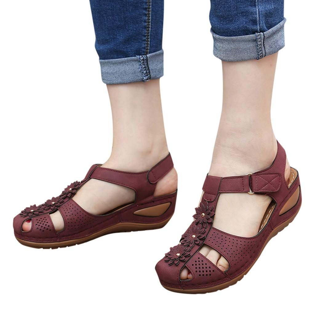 Midress Womens Ladies Hollow Casual Flat Sandals Ankle Buckle Round Toe Comfortable Soft Sole Loafers Shoes