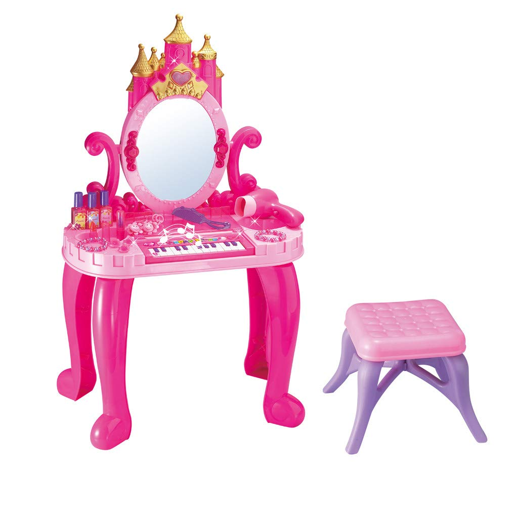 gofh Vanity Beauty Multifunctional Piano Dresser Table with Makeup Accessories, for Little Girls, Includes Comb, Hair Bands, Hair Dryer, Fake Bottles, and So On,17.5x9.3x29 Inches by gofh