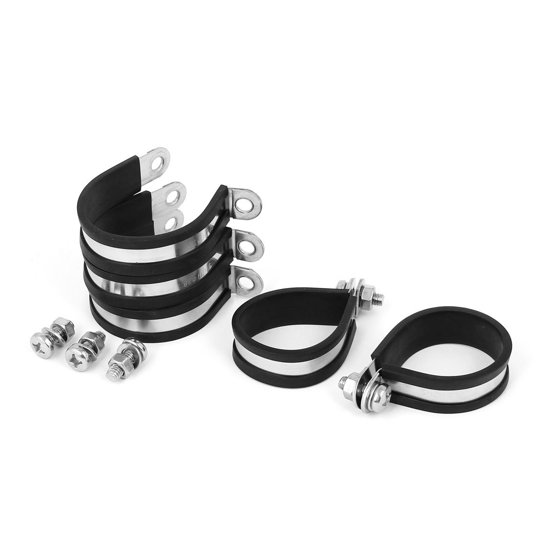 uxcell 35mm 304 Stainless Steel EPDM Rubber Lined P Clips Hose Pipe Clamp 5pcs