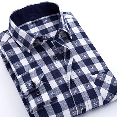 Snap Close Western Shirt - CATERTO Men's Button Down Long Sleeve Plaid Flannel Shirt (L, Navy)
