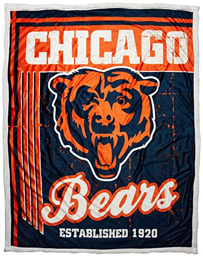 Officially Licensed NFL Chicago Bears Old School Mink Sherpa Throw Blanket, 50