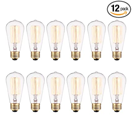 76dca77b4cf Image Unavailable. Image not available for. Color  Globe Electric 40W  Vintage Edison S60 Squirrel Cage Incandescent Filament Light Bulb ...