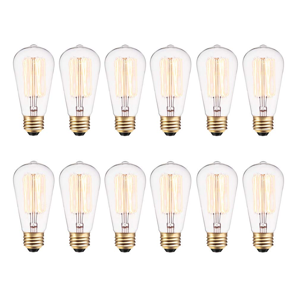Globe Electric 40W Vintage Edison S60 Squirrel Cage Incandescent Filament Light Bulb 12-Pack, E26 Base, 145 Lumens 313242