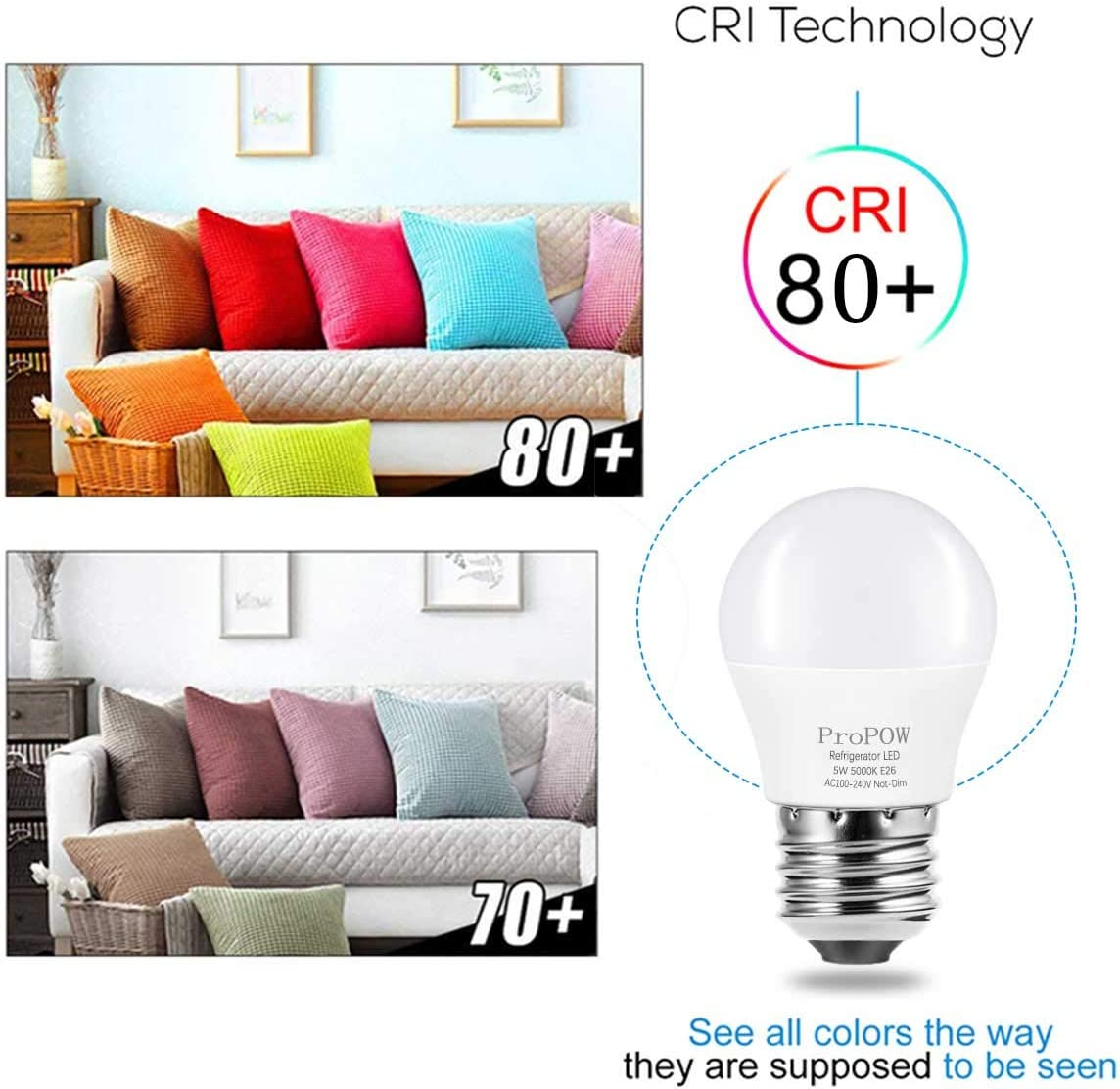 LED Refrigerator Light Bulb, ProPOW 40W Equivalent 120V A15 Fridge Bulbs 5 Watt Daylight White 5000K E26 Medium Base, Energy Saving Freezer Ceiling Home Lighting, Not-Dim, Waterproof, 2 Pack