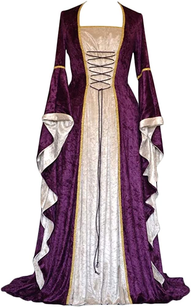 PengGengA Vestito Medievale Manicotto Allentato Benda da Donna Abito Lungo retr/ò Costume di Halloween