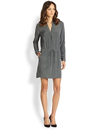 a9f827ddb5799b Amazon.com  VINCE HICKORY SILK DRAWSTRING SHIRTDRESS 10  Clothing