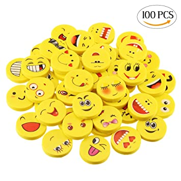 a8a9feb0f3bb8d CCINEE 100 Pieces Emoji Smile Novelty Erasers for Kids Party Bag Fillers