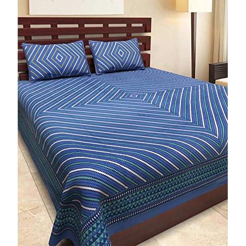 Uniqchoice 144 TC Cotton Double Bedsheet With 2 Pillow Covers   Blue