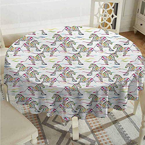 XXANS Spillproof Tablecloth,Zebra,Pattern of Running Zebra Animals with Lively Colored Skin Design Safari Wildlife,Party Decorations Table Cover Cloth,67 INCH,Multicolor