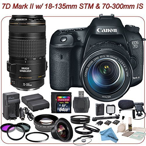 Cheap DSLR Bundle -Canon EOS 7D Mark ll DSLR Camera with 18-135mm STM and 70-300mm IS Lenses Kit & eDigitalUSA Professional Package: Includes Boom Mic, LED Video Light and more…