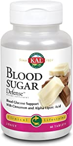 KAL® Blood Sugar Defense | Blood Glucose Support with Cinnamon and Alpha Lipoic Acid | With ActivTab Technology for Faster Disintegration | 60 Tablets