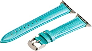 Clockwork Synergy - Lizard Leather Watch Bands for Apple Watch (42mm Turquoise Band/Steel Hardware)