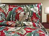 Red Birds of Paradise Duvet Cover Set - Tropical Bark Kahala Hawaiian Fabric (Queen)