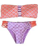 Sherry007 Two Pieces Bikini Pattern Printed Swimsuit Triangle/Bandage Bathing Suits