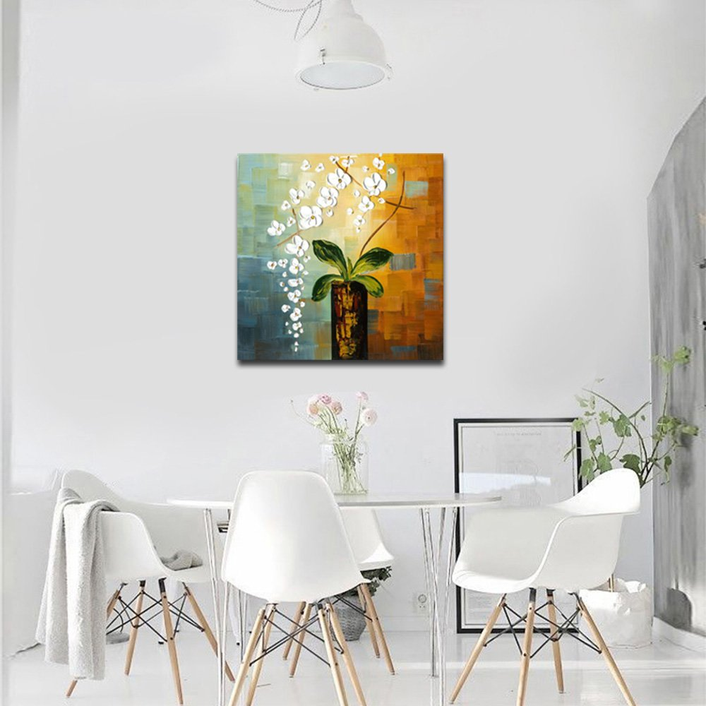 Wieco Art – Beauty of Life 100 Hand-Painted Modern Flower Artwork Abstract Floral Oil Paintings on Canvas Wall Art for Home Decorations Wall Decor 24 by 24 inch FL1066-1