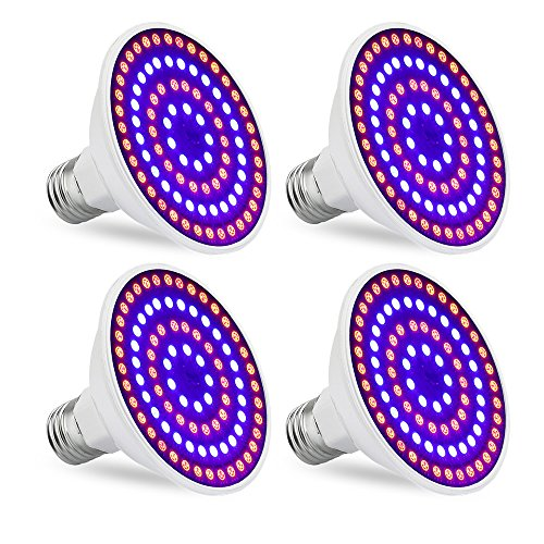 20W LED Grow Light Bulb, EnerEco Red Bule Grow Light for Indoor Plant, Plant Lamp for Greenhouse Hydroponic Indoor Plants Garden Organic Aquatic Veg Flower Fruits AC 85-265V E26 E27 [4Pack] by EnerEco