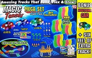Magic Tracks Mega Set Super Pack with Three Cars and 24 Feet of Tracks (480pc)