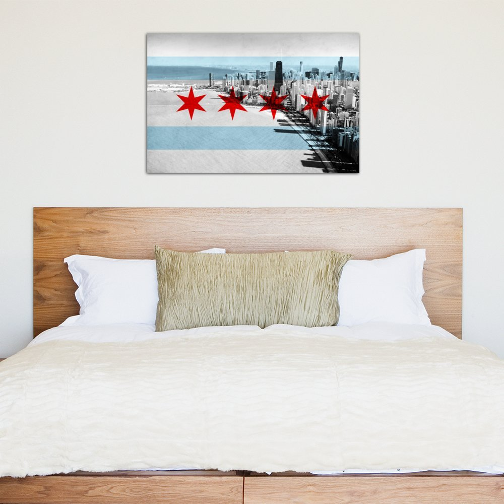 1.5 by 60 by 40-Inch FLG29-3PC6-60x40 iCanvasART 3-Piece Chicago Flag Chicago Skyline Canvas Print by Kane
