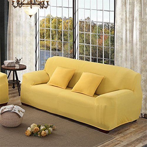 Elastic Sofa Solid Color Full cover Anti-skid 3 Seater Protector Couch Cover Armchair Slipcover Home Decor Stretch Sofa Cover Removable Yellow