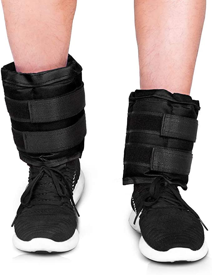 JBM Pesas para tobillosmuñecaspiernas, rellenas con arena, 5 kg, 6 kg, 10 kg (1 par); correas ajustables, ideales para caminar, trotar, para