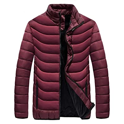 VEDOMS Mens Winter Warm Fleece Puffer Down Jacket Fleece Lined Jacket Quilted Insulated Coat Men: Clothing