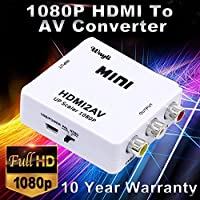 YOUBY2 1080P HDMI To AV Converter RCA CVBs Composite Video Audio Converter Adapter Supporting PAL/NTSC with USB Charge Cable for PC Laptop White