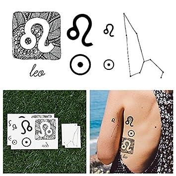 Tatuajes Temporales Tattify - Signo zodiacal - Leo (juego de 14 ...