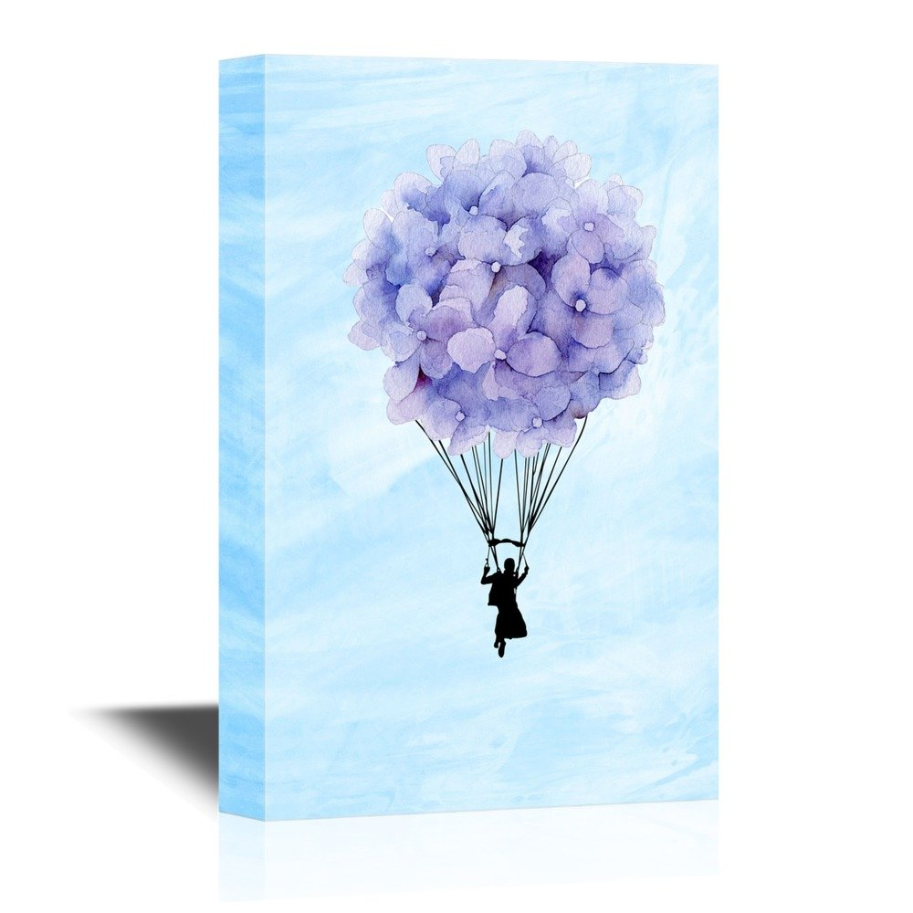 Wall26 art prints framed art canvas prints greeting wall26 canvas wall art man flying with purple flowers balloon creative flying concept gallery wrap modern home decor ready to hang 12x18 inches amipublicfo Image collections