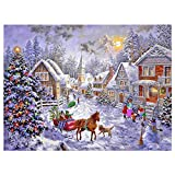 Sqailer 5D DIY Diamond Painting Full Square Drill Christmas Hut Rhinestone Embroidery for Wall Decoration 12X16 inches