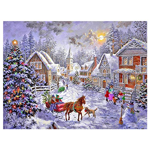 - Sqailer 5D DIY Diamond Painting Full Square Drill Christmas Hut Rhinestone Embroidery for Wall Decoration 12X16 inches