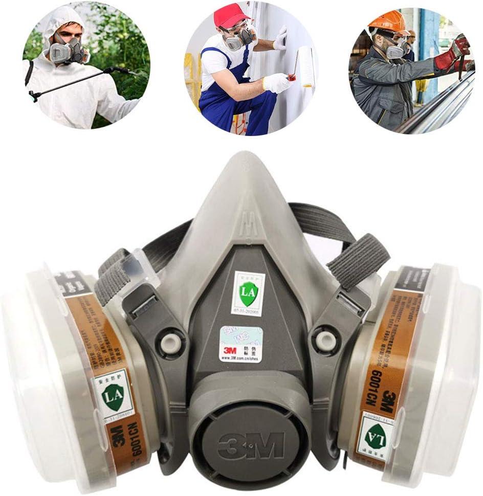 CHUDAN 3M Gas Mask Protection Half Mask, Reusable Dust Smoke Mask Respirator Mouth Mask for Paint Spray, Dust, Protection Odor Reduction, Spray