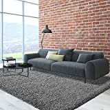 iCustomRug Cozy Soft And Plush Pile, 6' Square Shag Area Rug In Charcoal / Dark Grey
