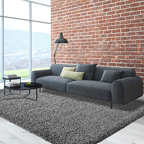 iCustomRug Cozy Soft And Plush, 5ft0in x 7ft0in (5X7) Shag Area Rug In Charcoal/Dark Grey