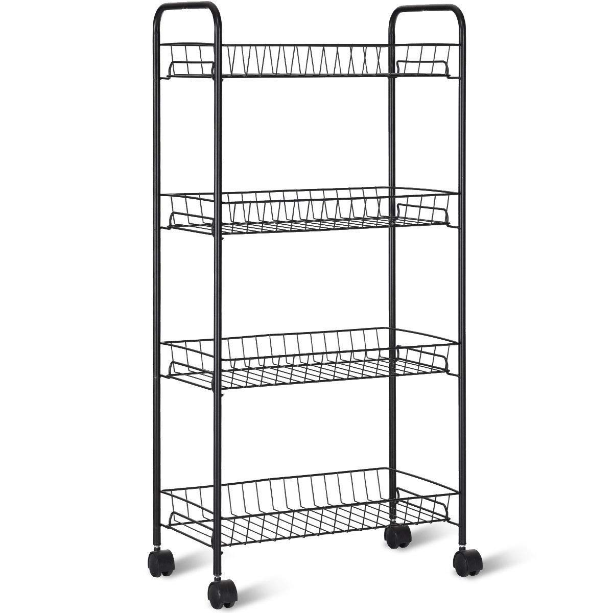 Zwan Black Rolling 4-Tier Metal Wire Utility Trolley Storage Shelf Baskets with Ebook