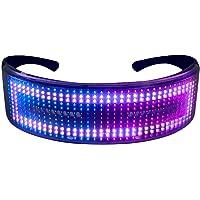 Queenser Óculos de festa de LED BT Controle de APP Óculos de luz LED piscando Óculos luminosos com USB recarregável…
