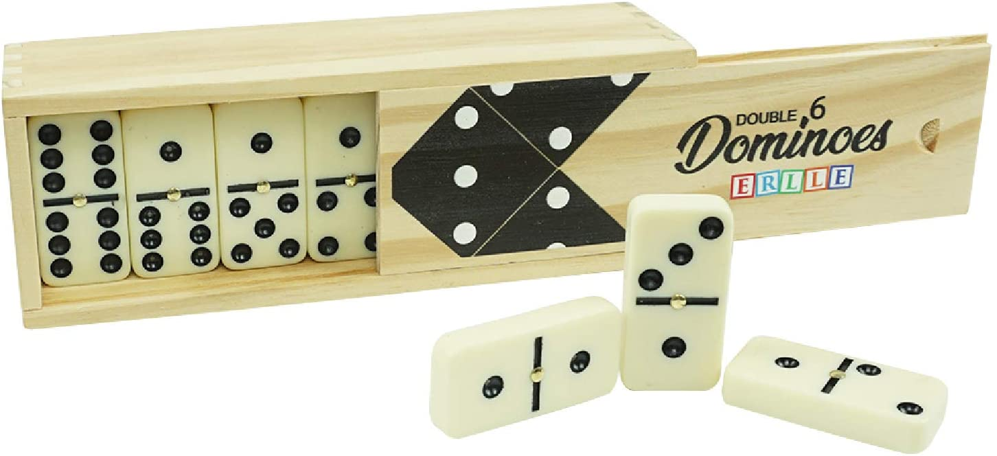Dominos jumbo set game. Premium classic 28 pieces duoble six domino. Durable wood box. Kids, boys, girls, Party favors and anytime use. Double 6 dominoes. Mexican train/Chicken foot/juego. 2-4 Players