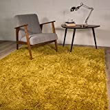 The Rug House Ontario Yellow Ochre Soft Touch Easy Clean Living Room Shag Shaggy Area Rug 5'11