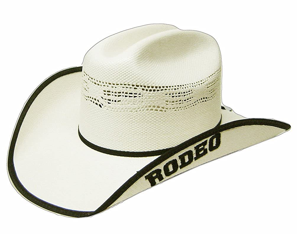 Modestone Traditional Bangora Rodeo Straw Cowboy Hat White