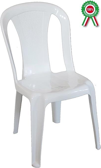 Sillón silla aura de dura resina de plástico blanca apilable sin reposabrazos para bar Camping Sagra restaurante jardín balcón: Amazon.es: Jardín