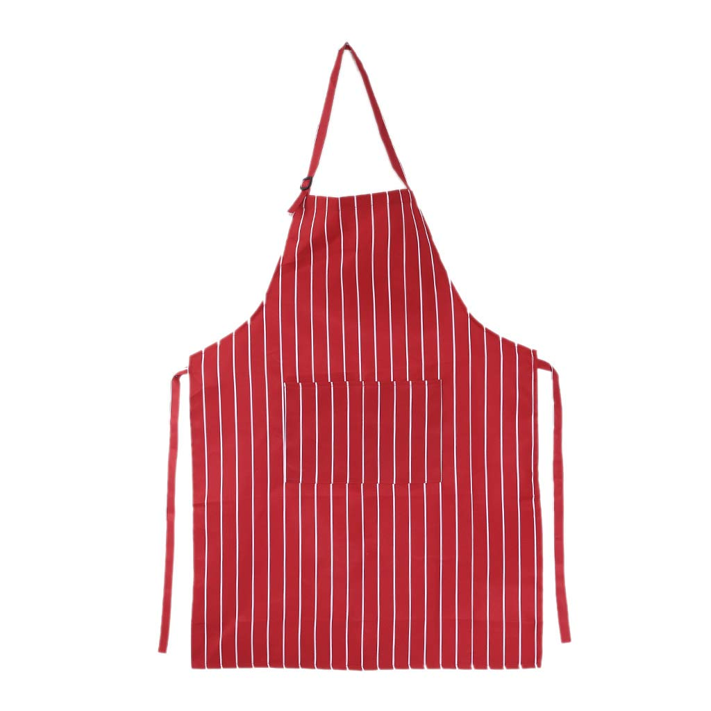 Yasheep Unisex Stripe Apron Adjustable Bib Apron Dress with 2 Pockets for Dinner Cooking Baking BBQ Restaurant Chef for Adult Men Boy Teenager (Black& White)