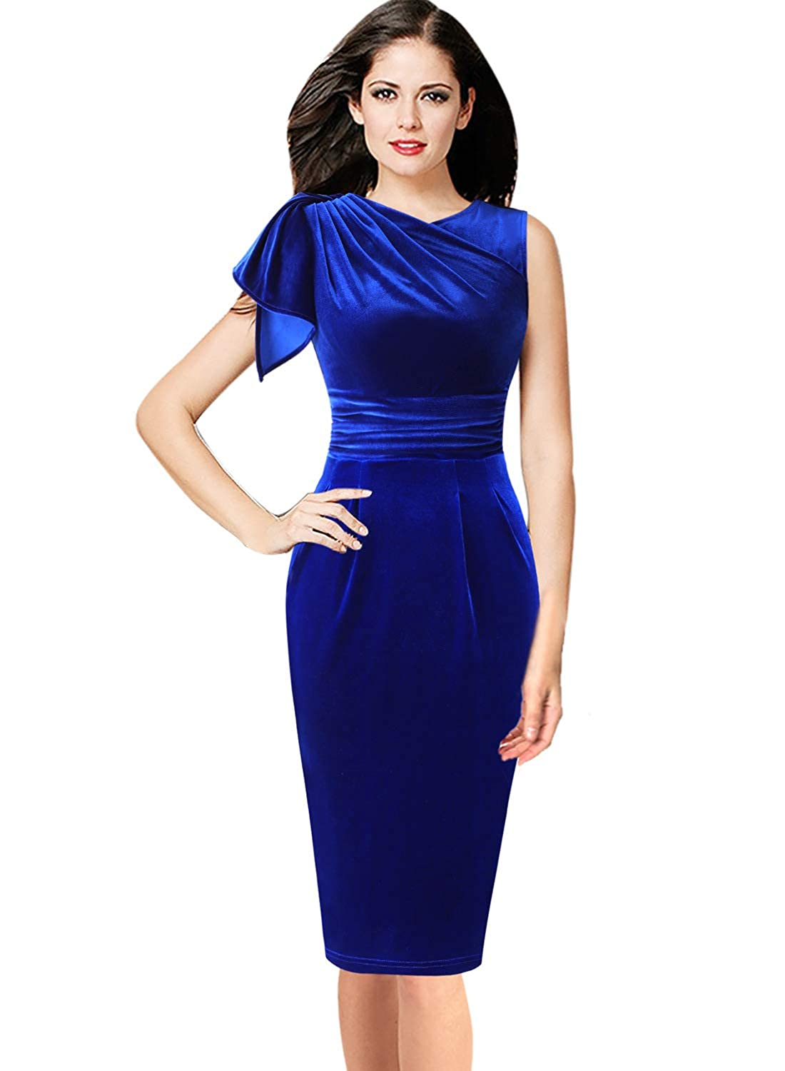 bluee Velvet VfEmage Women's Celebrity Elegant Ruched Wear to Work Party Prom Bodycon Dress
