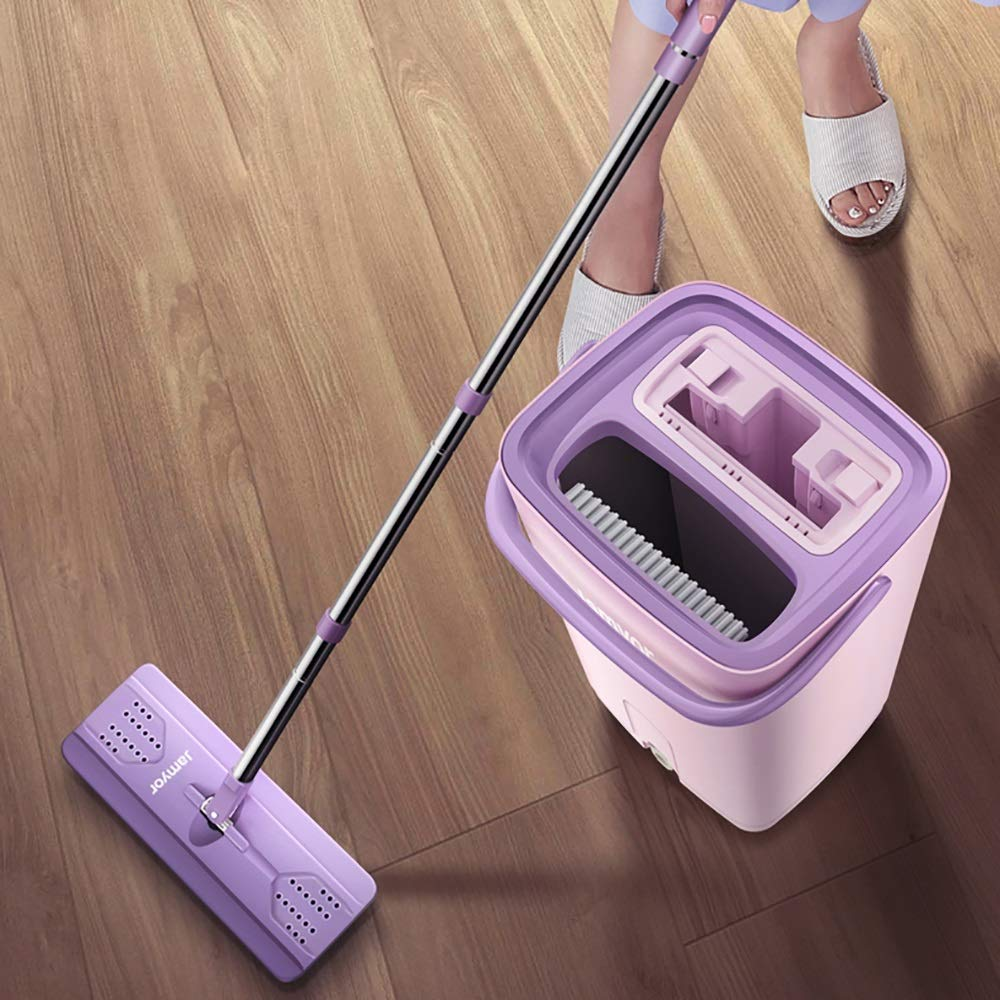 Xiao Jian Rotating Mop - Hand-free Flat Mop Rotating Home Wood Floor Tile Mop One Drag Lazy Wet And Dry Mop mop (color : Beige, UnitCount : 1 mop pole) by Qi Peng-//spin mop (Image #3)