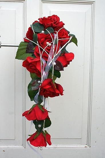 Brautstrauss Fliessend Seidenblumen Strauss Mit Roten Rosen Hochzeit