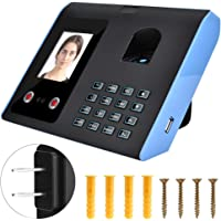 Intelligent Attendance Machine, 2.8 inch Color Screen Face Fingerprint Recognition Password Time Clock for Employee Checking-in Recorder (US)