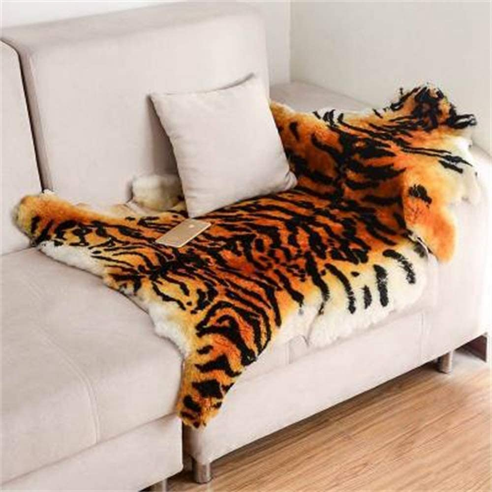 Area Rug Chic Style Tiger Leopard Printed Australia Sheepskin Rug Soft Plush Eco-Friendly Rug Fits Perfectly in Living Room/Bed Room or as a Couch Decor One Pelt 1 Pack